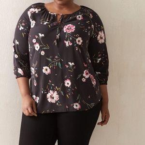Penningtons Black Floral Boho Flowy Blouse Plus 2X